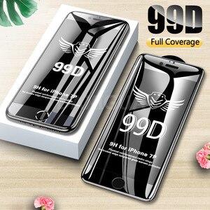 Image 1 - 99D ขอบโค้งเต็มรูปแบบป้องกัน iPhone 7 8 6 6S Plus กระจกนิรภัยหน้าจอ Protector iPhone X XR XS Max