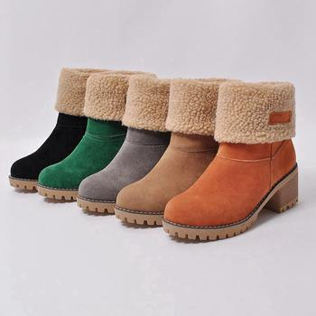 Women Boots Female Winter Shoes Woman Fur Warm Snow Boots Square heels bota feminina Ankle Boots botas mujer 890