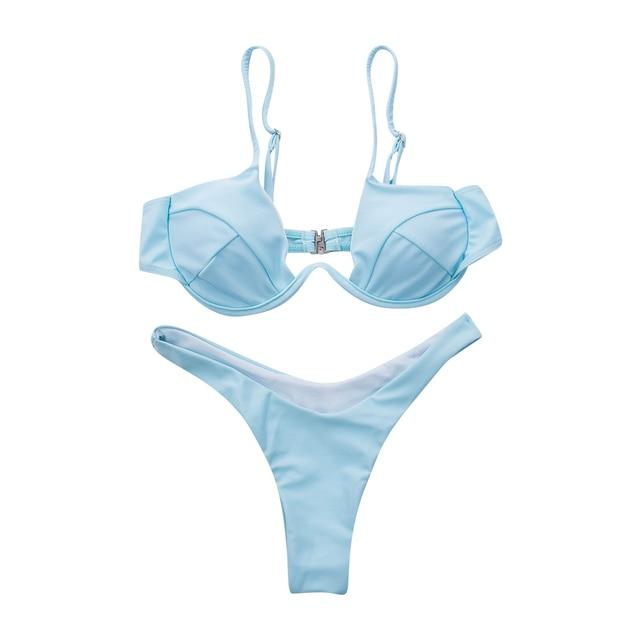 Sexy Push Up Unpadded Brazilian Bikini Set Women 4 Colors Bandage Bikini Set Swimsuit Triangle Swimwear Bathing 8