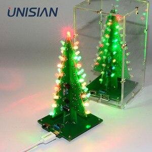 Image 1 - UNISIAN Colorful 3D Christmas Tree DIY Kit with Acrylic Shell Christmas Gift Electronic Fun DIY Suite Flash LED interesting Kit