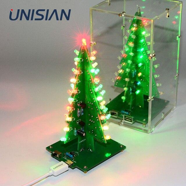 UNISIAN Colorful 3D Christmas Tree DIY Kit with Acrylic Shell Christmas Gift Electronic Fun DIY Suite Flash LED interesting Kit