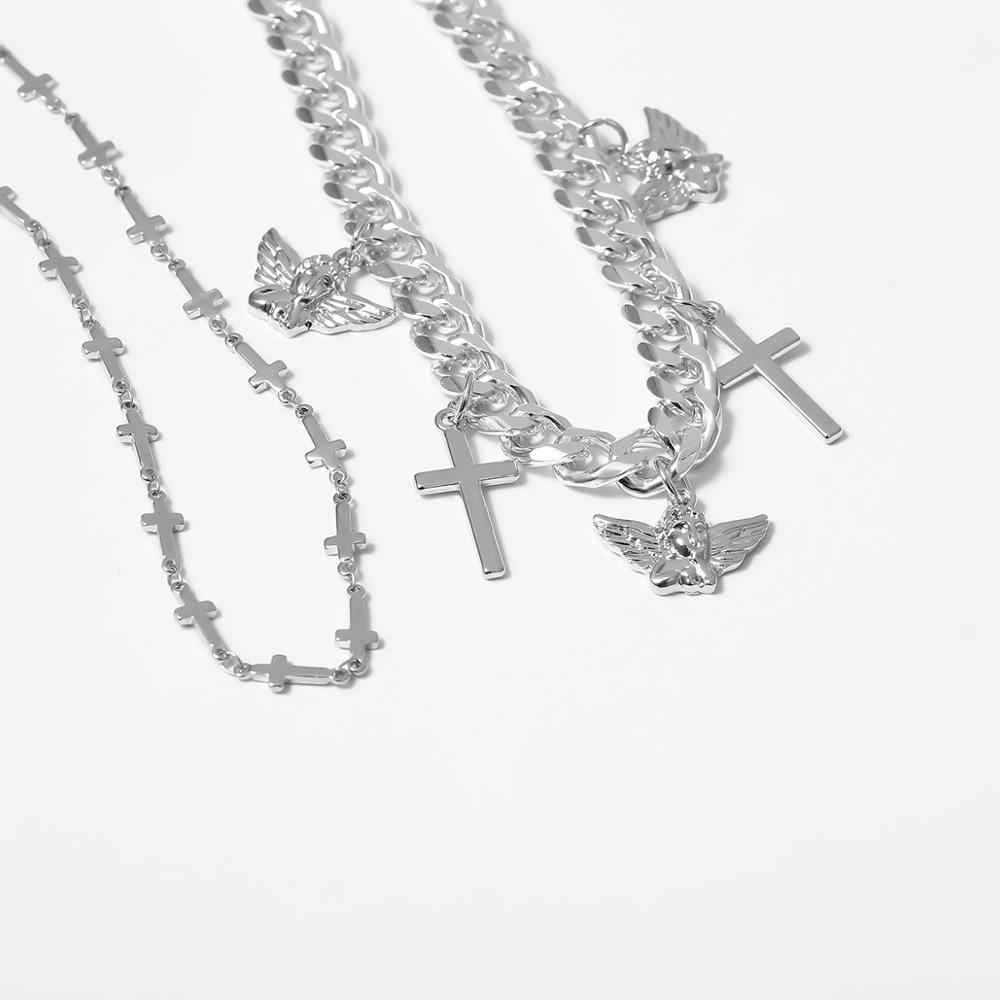 Hoge Kwaliteit Gothic Angel Cross Hanger Choker Ketting Voor Vrouwen Vintage Gelaagde Queen Coin Chunky Ketting Kettingen Mannen Sieraden