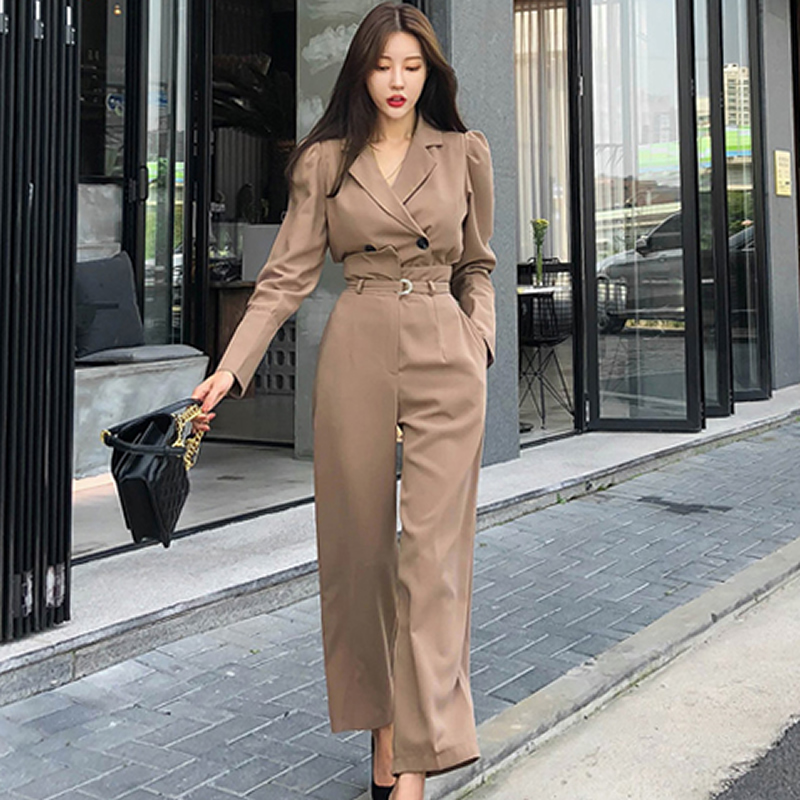 Autumn Notched Double Breasted Solid Top High Waist Loose Long Pant Two Piece Office Women's Sets