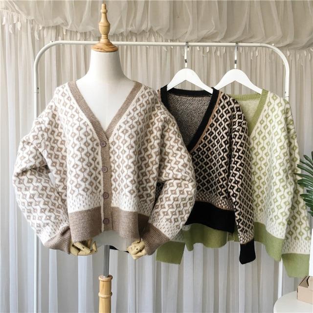 $ US $22.62 UK 2020 Fall Winter Women Casual Oversized V neck Thick Warm Plaid Cardigan Knit sweater coat