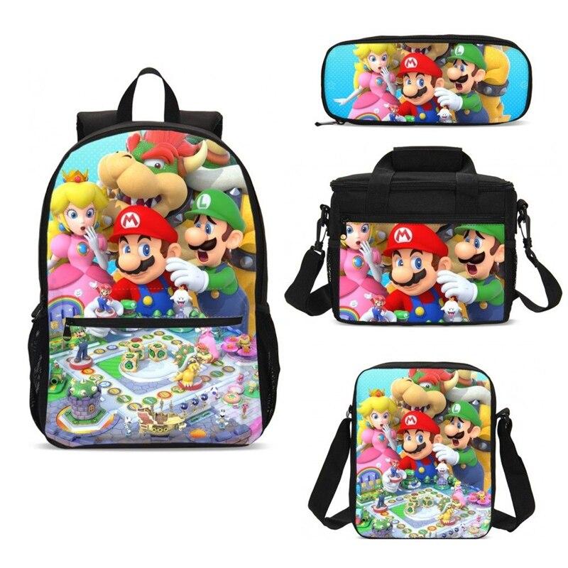 Super Mario Print Lunchboxes Bag Backpack Pencil Case 3PCS School Backpack Sets