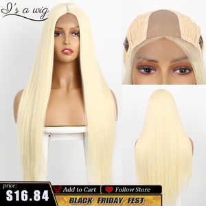 I's a wig Small Area Lace Front Wigs Long Straight Synthetic Wigs 60 Blonde Purple Cosplay Wigs for Black Women