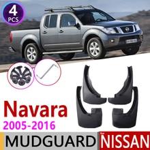 Mudflap לניסן Navara Frontier פראי D40 2005 ~ 2016 פגוש בוץ דשי Splash Guard מגני בץ אביזרי 2006 2007 2008 2009