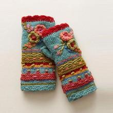 Rękawiczki damskie zimowe dzianiny pół wyhaftowany palec rękawiczki ciepłe dorywczo kwiatowe rękawiczki robione na drutach rękawiczki rękawiczki rękawiczki tanie tanio Dla dorosłych CN (pochodzenie) Unisex Akrylowe knitting Drukuj Nadgarstek Nowość 1 pair Gloves