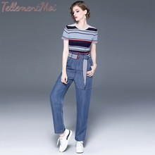 Two Piece Set Women O Neck Short Sleeve Knitted Shirt Top and High Waist Jeans Ladies Casual Striped Sets Female 2019 Autumn цена