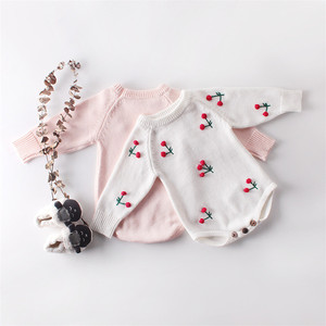 Image 4 - תינוקת Romper סתיו יילוד תינוק Romper ארוך שרוול סרוג תינוק בגדי כותנה דובדבן תינוקות תינוק סרבל ילדה בגדים