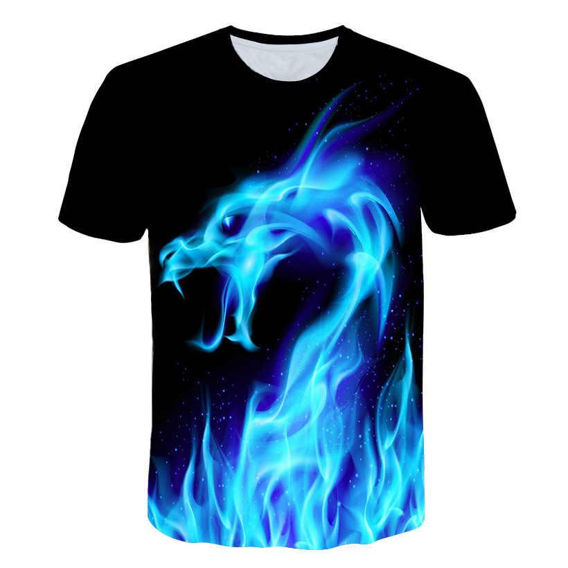 Çocuklar için yeni 2019 yaz moda 3D T-shirt mavi alev ejderha komik tasarım büyük Boy kız baskılı T shirt çocuk serin giyim Tops