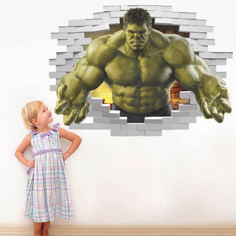 Autocollant mural «Hulk» avec effet 3d, 50x70cm, pour chambres d'enfants, décoration de la maison, dessin animé Avengers, stickers muraux, affiche cadeaux  