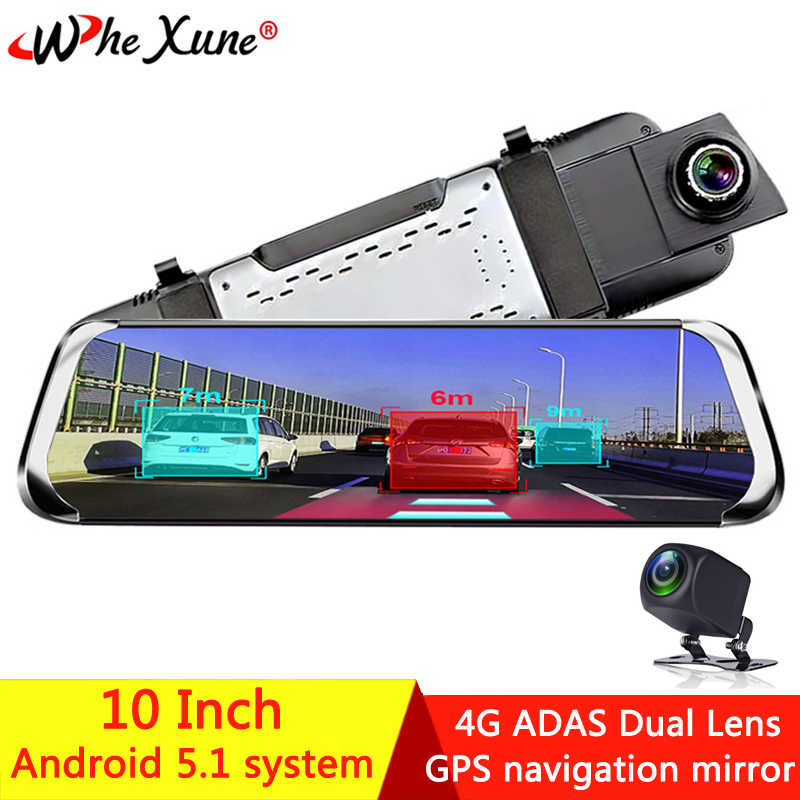 "WHEXUNE Android 5,1 ADAS 4G 10 ""IPS coche DVR Cámara espejo Dash cam Video grabadora Full HD espejo retrovisor WiFi GPS registrador"