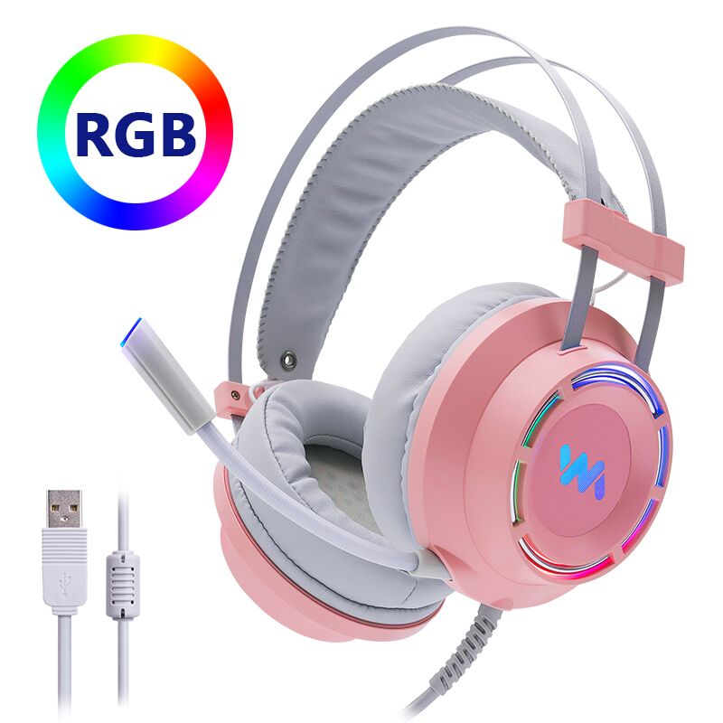 Cosbary Kopfhörer Rosa Gaming Headset mit Mikrofon USB Verdrahtete 7,1 Surround Sound Led Licht für PC Gamer Computer Laptop Xbox image