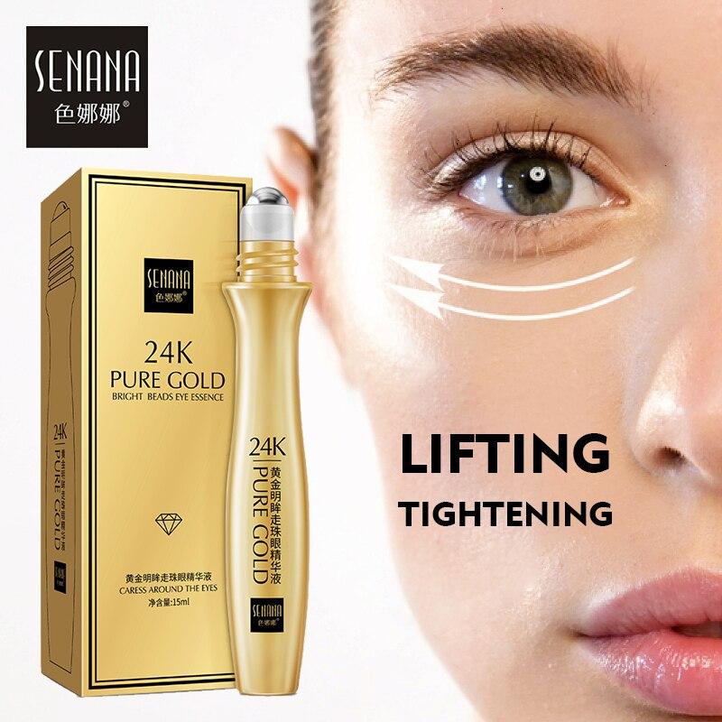 SENANA 24K Gold Remove Dark Circles Eye Serum Anti-Aging Roll-on Essence Bright Hydrating Moisturizing Anti-Puffiness Eye Care
