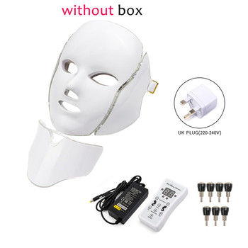 7 Colors Light LED Facial Photon Therapy Beauty Machine With Neck Skin Rejuvenation Face Care Anti Acne Whitening Instrument - Russian Federation, UK Plug withoutbox
