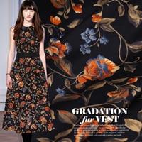2019 Vintage Floral Natural Silk Fabric Gold Peony Printed Stretch Satin Black Flower Dress Material Telas Tissus Au Metre