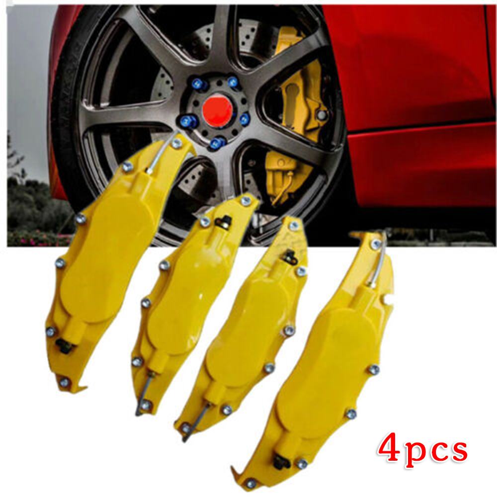 4pcs Car Front Rear Brake Caliper Cover Yellow Car Accessories Universal