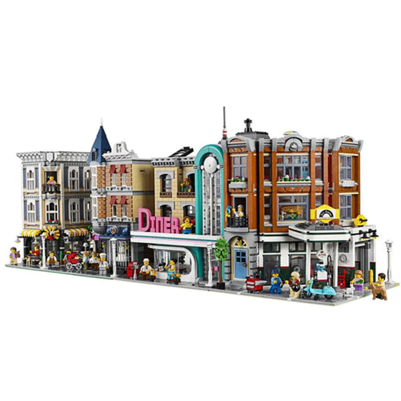 Moc City Streetview Bookshop Corner Garage Downtown Diner Parisian Restaurant Building Blocks Bricks Toys Gifts