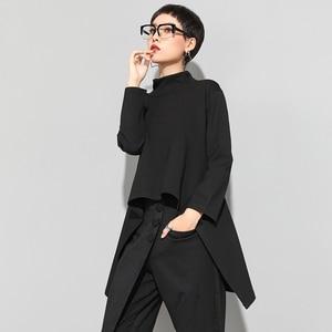 Image 4 - XITAO Vintage czarny golf T koszula kobiety Plus rozmiar Kawaii Casual z długim rękawem nieregularne koszule koreańskie ubrania nowy ZLL1177