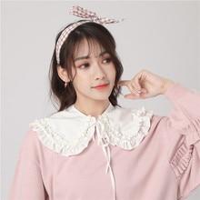 Fashion Girls Collars Fake Collar Lolita Doll Double Layer Ruffles Fake Collar Shoulder Wrap Solid White Black Neckline Neckband