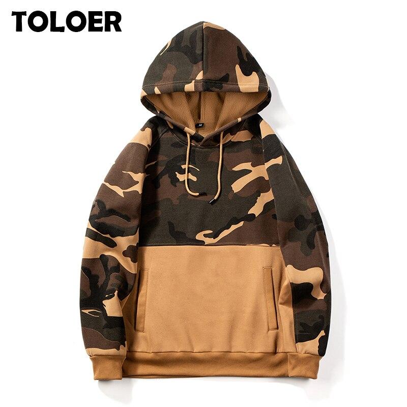 Camouflage Men Hoodie 2020 Brand Patchwork Hip Hop Sweatshirt Male Autumn Fleece Hoody Tops Warm Hooded Pullovers Mens Army Coat