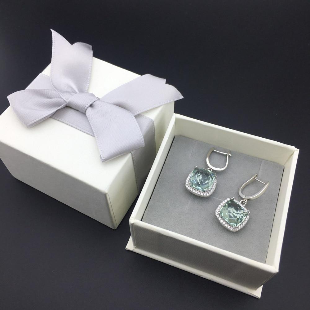 Купить женские серьги подвески из серебра 925 пробы с натуральным зеленым