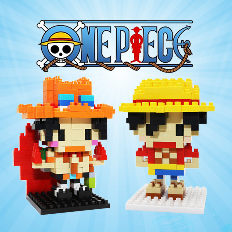 One Piece Figures Luffy Ace Nami Zoro Chopper Sanji Robin Anime Figurines Toy Mini Blocks For Children Boyfriend Teenager Gift image