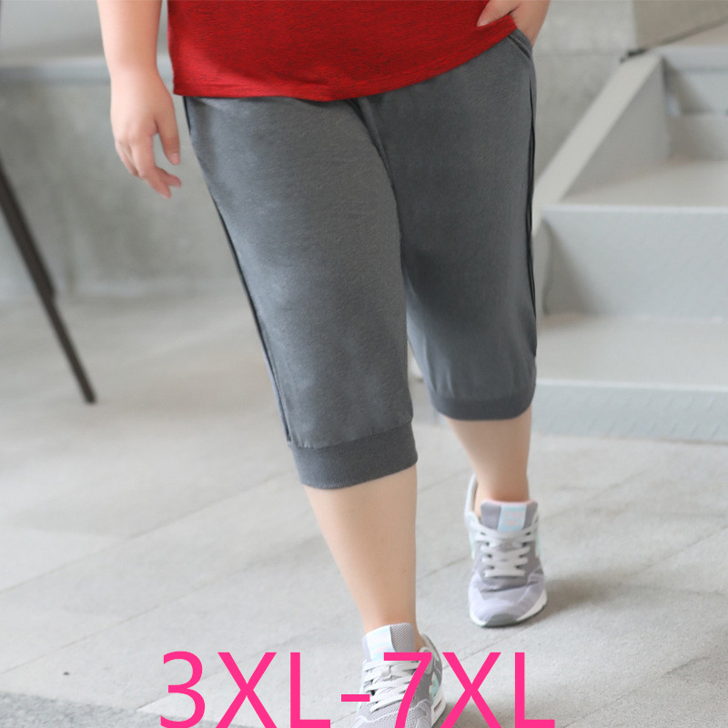 2019 Summer Plus Size Shorts For Women Large Casual Loose Cotton Elastic Stripe Sprots Shorts Gray Black 3XL 4XL 5XL 6XL 7XL