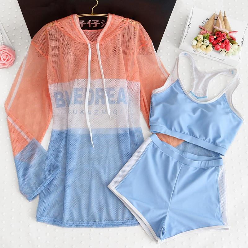 STAERK Sports Swimsuit Ong Sleeve Women Print Swimwear Sexy Solid Ruffle Bikinis Bikini Set High Waist Swimsuit Bathing Suit Fem