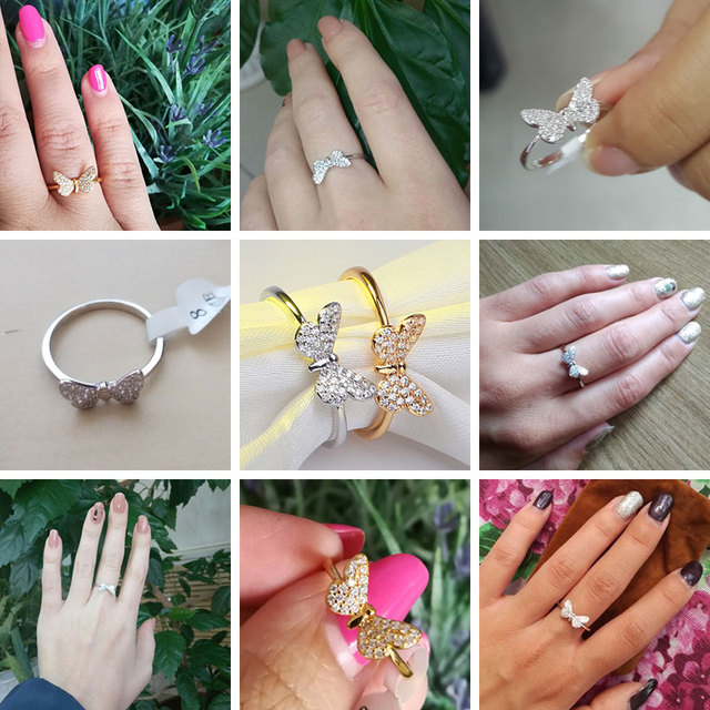 Effie Queen Elegant female Wedding Ring Real 925 Sterling Silver Rings Butterfly Shape With AAA Zircon Jewelry Gift BR59 5
