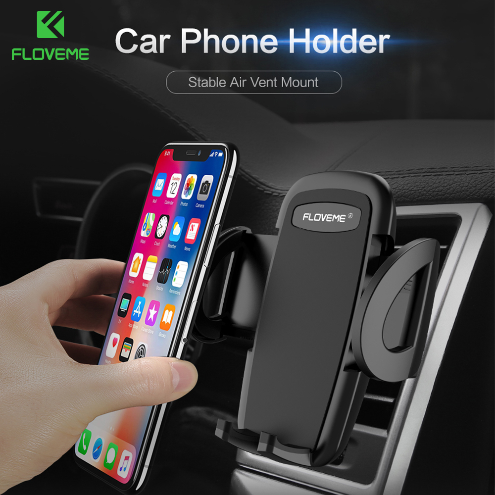 FLOVEME One-Click Release Car Phone Holder For Samsung S9 S8 Plus Universal Air Vent Mount Car Holders Stand For IPhone 5S SE 6S