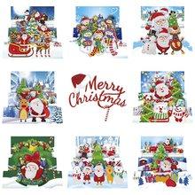 8 pçs 5d diy pintura diamante cartão em forma especial diamante bordado cartões de natal cartões postais aniversário presente natal