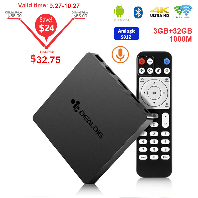 Dealdig boxd6 caixa de tv android 7.1 3 gb 32 amlogic s912 octa núcleo 2.4g/5g wifi conjunto de controle voz caixa superior 4 k bt4.0 media player