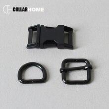 1 set plated metal belt buckle 3/4 inch 20mm webbing D rings for bag dog pet collar DIY accessories strong adjuster slider black