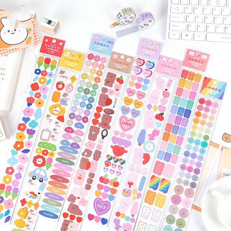 8kinds Rainbow Series Stickers DIY Scrapbooking Journal Phone Week Album Diary Happy Planner Decoration Sticker