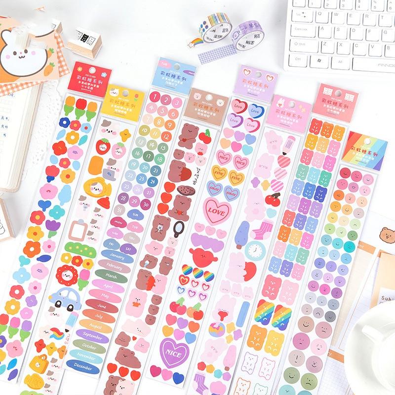 9 Sheets Rainbow Star Ribbon Stickers Album Photo Diary DIY Decorative Stickers