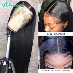 Asteria 13x6 Lace Frontal Wig PrePlucked Brazilian Straight Lace Front Human Hair Wig For Black Women 180% 250% Density Remy Wig(China)