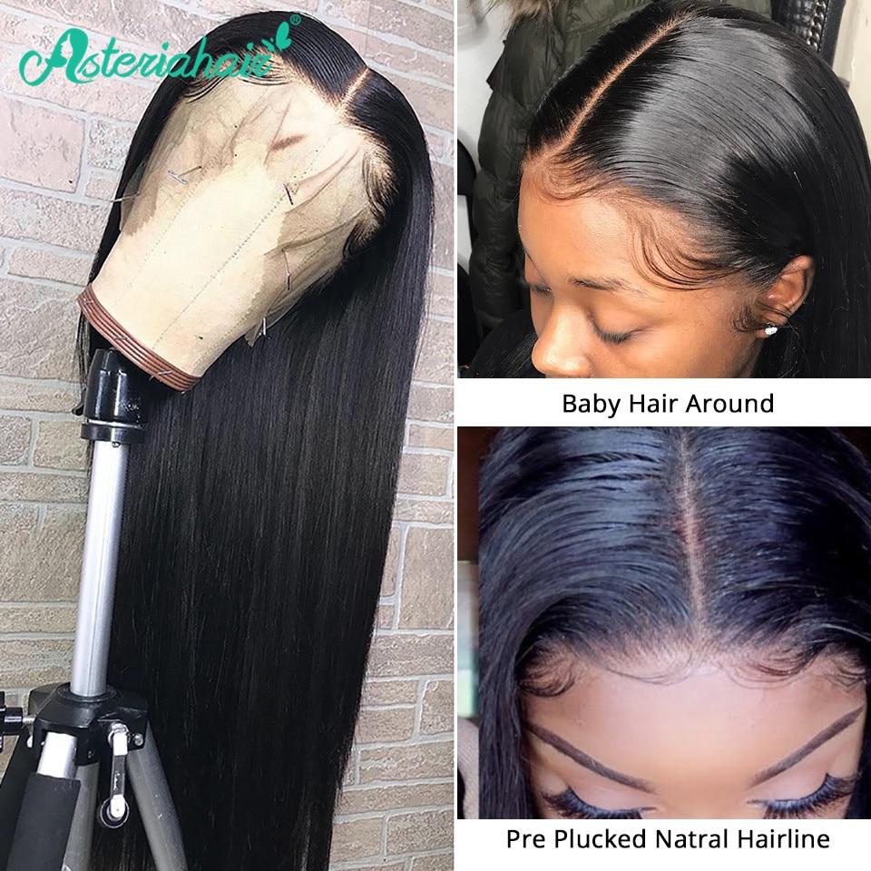 Asteria Hair-pelucas de encaje Frontal 13x4 cabello humano liso brasileño prearrancado con cierre 4x4 para mujeres negras, cabello Remy