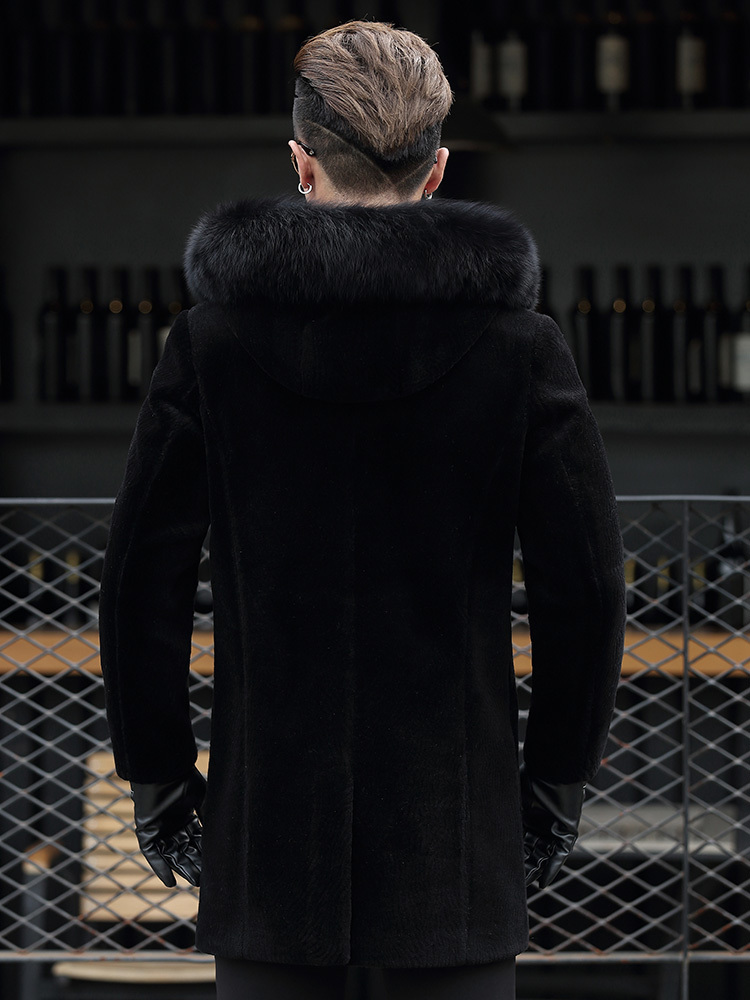 Real Sheep Shearling Fur Coat Winter Jacket Men Fox Fur Collar Long Coats Real Wool Coat Plus Size Jackets S-7106-2 Y1582