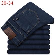 30-54 классические длинные джинсы для мужчин весна осень повседневные Стрейчевые прямые брюки нового размера плюс мешковатые джинсовые брюки деловые университетские брюки