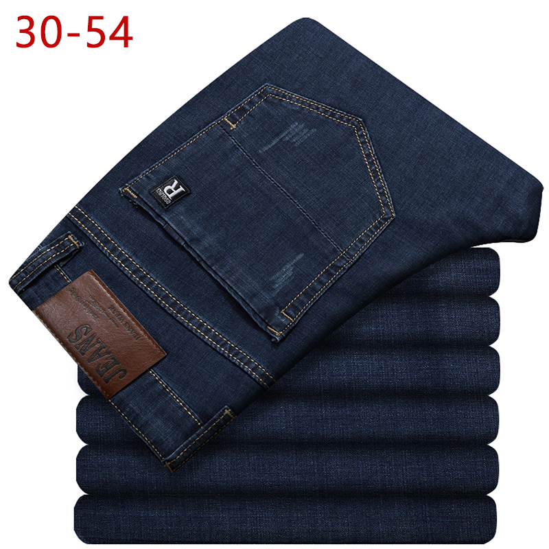 30-54 Classic Long Jeans For Men Spring Autumn Casual Stretch Straight New Plus Size Baggy Denim Pants Business Varsity Trousers