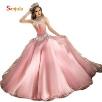 Pink Tulle Quinceanera Dresses Ball Gown 2019 Sweetheart Sparkle Beaded Sequins Long Sweet 16 Dresses robe de bal D1230