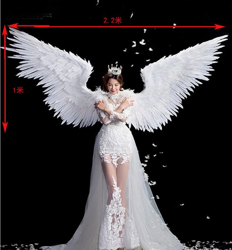 Cosplay Bianco Puro di angelo della piuma dell'ala della piuma per adulti modello della pista biancheria intima mostra oggetti di scena di ripresa festival ali del partito Di nozze Di Natale - 3