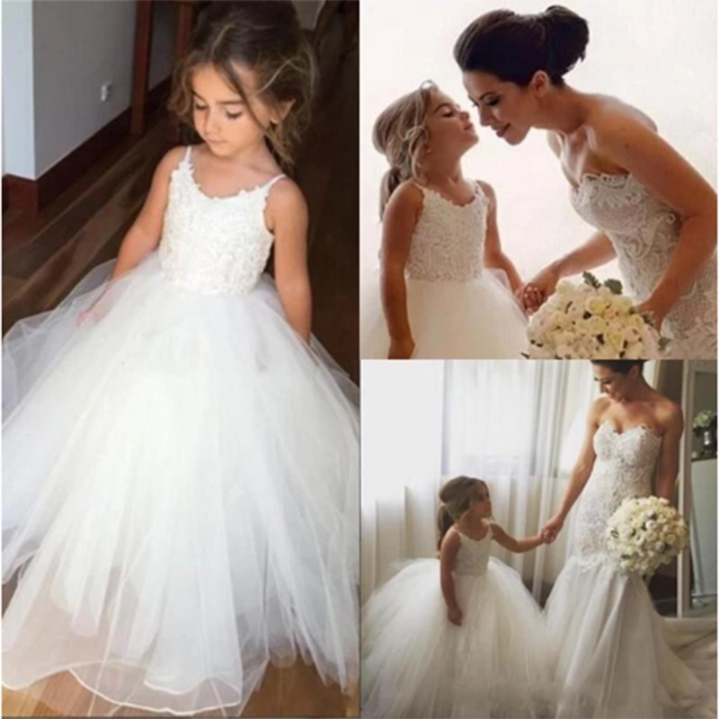Spaghetti Lace Top White Tulle Hot Sale   Flower     Girl     Dresses   For Wedding Applique   Girl   Party Communion Pageant Gown vestido longo
