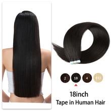 18 дюймов, 20 шт., лента для наращивания человеческих волос, двойные волосы, прямые невидимые волосы из искусственной кожи