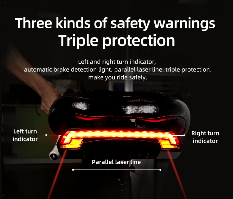 Wireless Bike light Brake Bicycle Rear Light laser taillight Smart USB Rechargeable Cycling Accessories Remote Turn led (7)