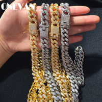 Men Hip Hop Iced Out Bling Full Pave Rhinstones Chain Necklace Fashion CZ Miami Cuban Chains Necklaces Hiphop for Unisex Jewelry