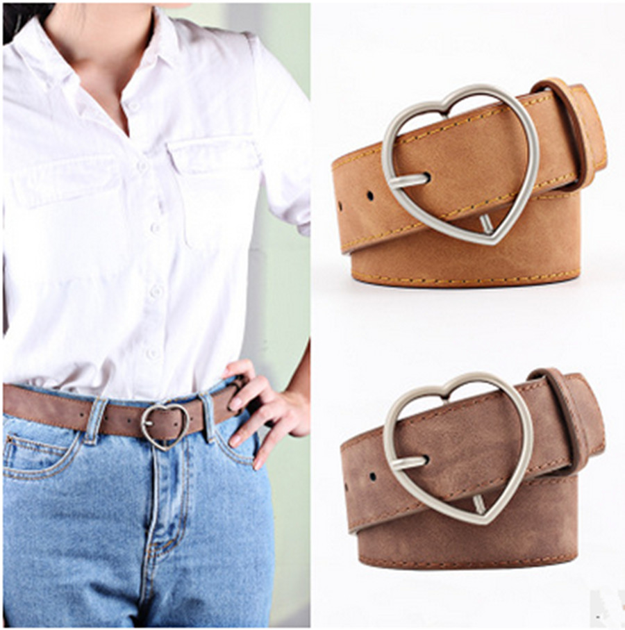 New Hundred Ladies Imitation Leather Belt Alloy Peach Heart Day Buckle Lady Scrub Leather Belt Student Belt Luxury Belt