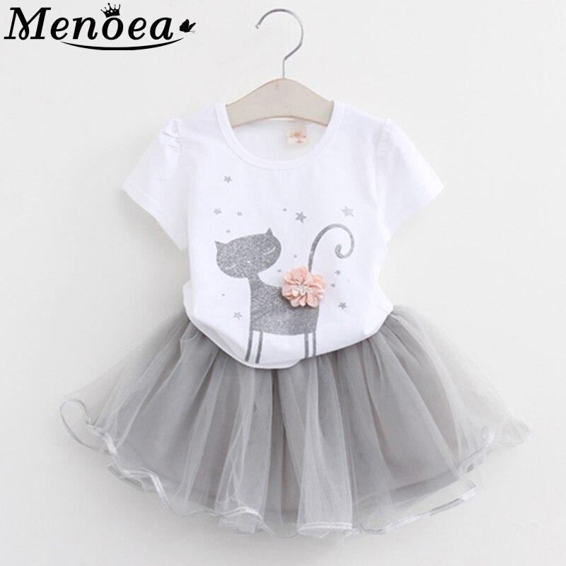 Girls Dress 2020 Girl Clothes Summer Style Cat Cartoon Cute Little White Cartoon Dress Kitten Printed Kids Dresses